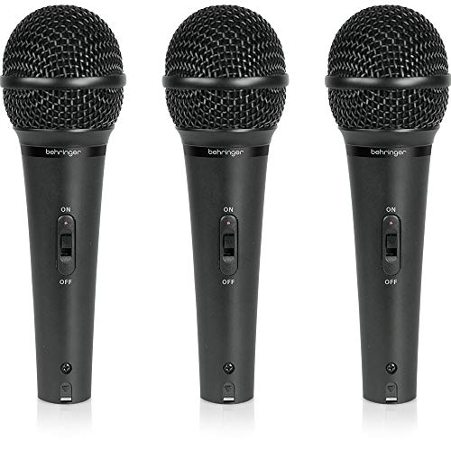 Behringer Ultravoice XM1800S Dynamic Cardioid Vocal and Instrument Microphones, Set of 3,Black