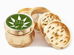 "Fist Design Premium Grade Aluminum Tobacco,Herb Grinder -4Pcs Large (2.5"" Gold) # GLD-G022115-041"