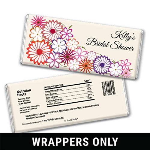 Chocolate Candy Bar Wrappers Shower Flowers Bridal Party Favors (25 Wrappers) (Chocolate Bar Shower Bridal Personalized)