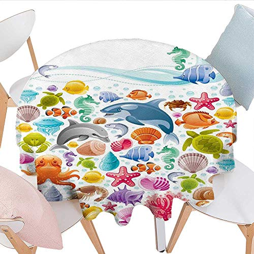 longbuyer Tropical Animals Round Tablecloth Diving Sea Animals Collection with Marine Objects Whale Corals Underwater Party Tablecloth 50