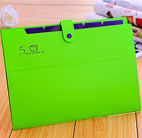 KOBEST Pocket document file Poly Expanding A4 and Letter Size File Organizer, 5 Pockets, stylish colorful and very lightweight(green&purple)
