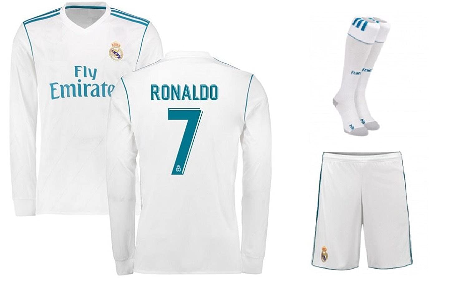 the best attitude 9c38c ee19e VortX Ronaldo Real Madrid White Home 2018 Long Sleeve Jersey ...
