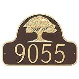 Montague Metal Oak Tree Arch Address Sign Plaque, 11'' x 16'', Aged Bronze/Gold