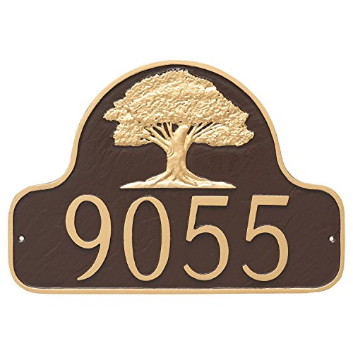 Montague Metal Oak Tree Arch Address Sign Plaque, 11