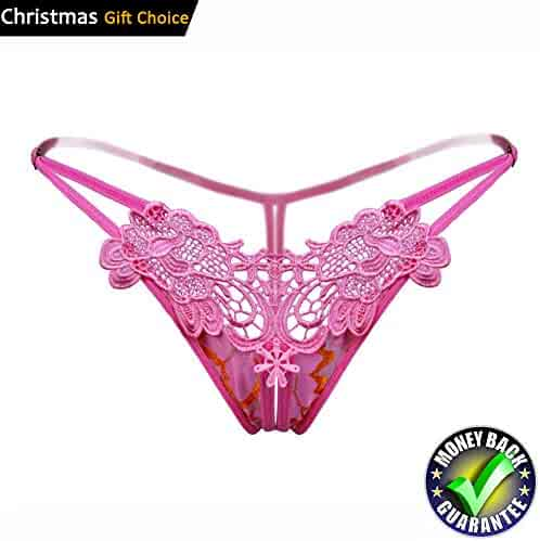 b42870cbba39 Ellen Women Sexy Open Crotch Lingerie Side Tie Thongs Embroidery Lace G- Strings