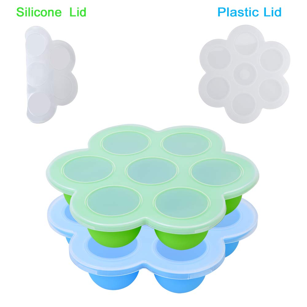 Silicone Egg Bites Molds for Instant Pot Accessories- Unique Silicone Lid and Plastic Lid Included - Baby Food Freezer Trays, Egg Bites Mold for Instant Pot, 2Pcs Blue and Green by Zeattain