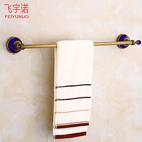 LHbox Tap Single Lever Towel Rack Antique-Brass Bracket Blue Crystal Single Lever Kitchen Towel Rack Hardware, Antique
