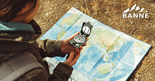 Compass,Banne Metal Waterproof Compass,Camping Compass Fluorescent Pointer Compass(Army Green)