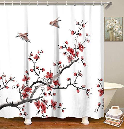 LIVILAN Red Floral Curtains Set with 12 Hooks Tree Branch Bathroom Curtain Fabric Bath Curtain Home Decoration Heavy Duty Bathroom Accessories,70.8