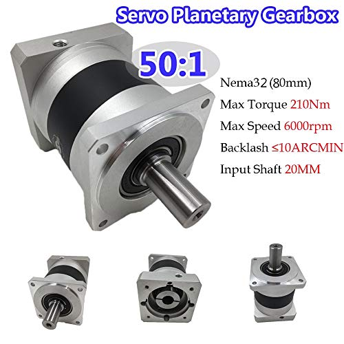 - Fevas Servo Motor Planetary Gearbox 50:1 Nema32 Servo Speed Reducer 10ARCMIN 210Nm 6000rpm Max Input Speed for 80mm Servo Motor