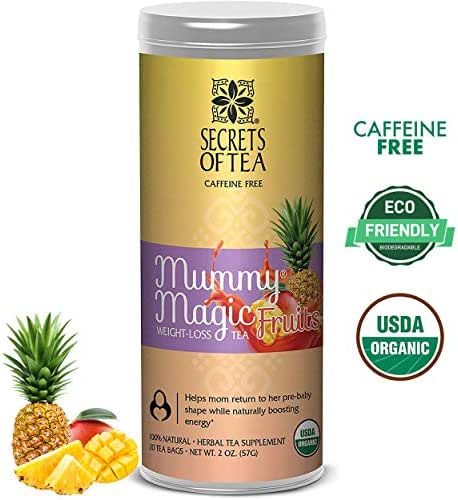 Mummy Magic Weight Loss Organic Tea, Friut Flavor, Postpartum Energy, 20 Unbleached Tea Bags 40 Servings, Naturally Increase Metabolism, Improves Energy & Digestion. Available in 5 Flavors