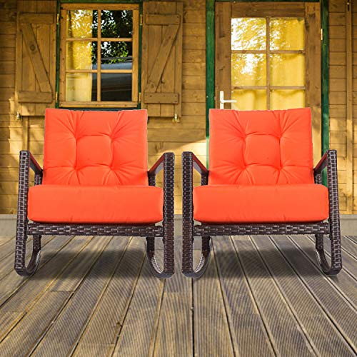 (SUNCROWN Outdoor Patio Rocking Chair (1 Piece) All-Weather Wicker Furniture Vibrant Orange Seat with Thick, Washable Cushions | Backyard, Pool, Porch | Smooth Gliding Rocker with Improved Stability)