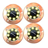 AomeTech Set of 4 Solar Ground Lights, Warm White Solar 8 LED Ground Garden Pathway Outdoor in-Ground Lights with Dark Sensing for Lawn Pathway Yard Driveway Walkway Pool Area