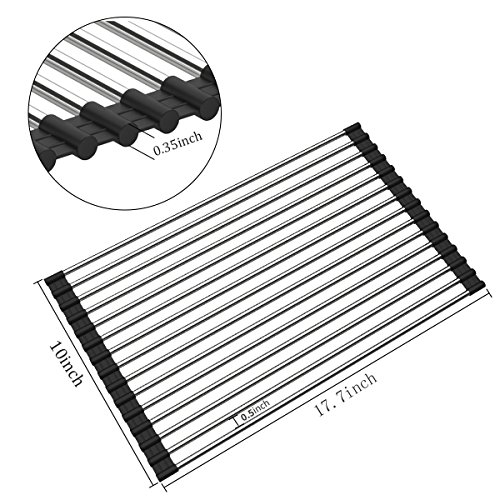 Sink Rack, Aiduy Roll Up Dish Drying Rack Over Sink Dish Drainer Rack Drying Mat Folding Dish Rack Tray Trivet for Kitchen Sink Drying - Stainless Steel