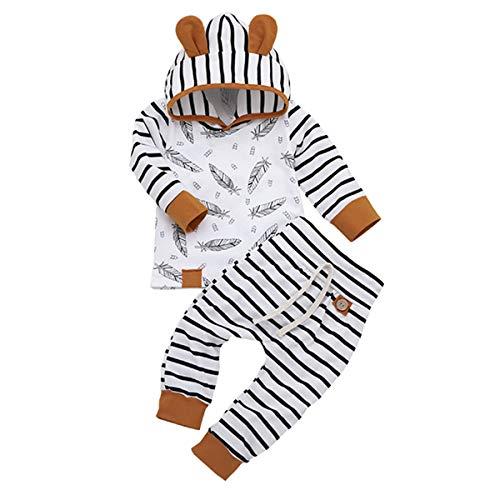 Newborn Infant Baby Girls Boys Hoodie Set Leaves Striped Jacket Pants Set Kids Fall Clothes (2PCS 3D Hoodie Set, 0-3 Months)
