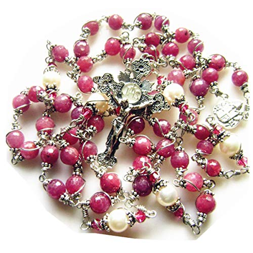 elegantmedical Handmade 925 Sterling Silver UNDOUBTED Ruby Beads Rosary Cross Catholic Necklace Gift Box