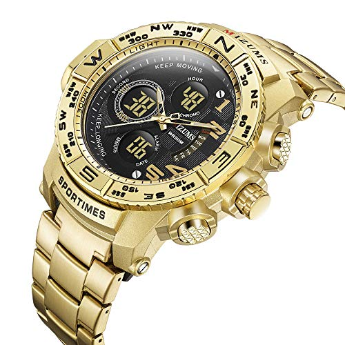Multi-Function Sports Quartz Watch for Men Waterproof Military Wrist Digital Watches Stainless Steel Band (M8002 Gold) ()