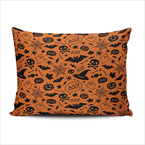 Custom Maple Bat - WULIHUA Pillow Covers Halloween Pumpkins Skulls Bats Spiders Candies Sofa Durable Modern Pillow Case Decorative Custom Throw Pillow Cases one Side Printed Queen 20x30 Inches