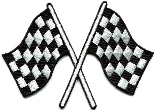 Checkered flag chequered auto car racing rockabilly applique iron-on patch