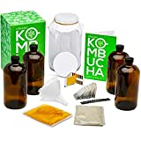 Kitchentoolz Two Phase Deluxe Kombucha Starter Kit - Kombucha Jar, Kombucha Bottles, Scoby and Basic Ingredients for a Full Kombucha Fermenting and Bottling Experience (Amber Bottles Kit, Glass)