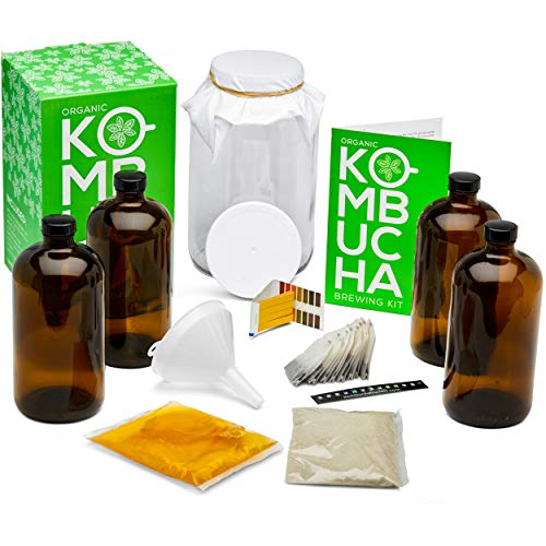 Kitchentoolz Two Phase Deluxe Kombucha Starter Kit - Kombucha Jar, Kombucha Bottles, Scoby and Basic Ingredients for a Full Kombucha Fermenting and Bottling Experience (Amber Bottles Kit, Glass)