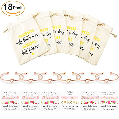 Bridesmaid Gifts Bachelorette Party Supplies - Bridal Shower Wedding Party Decorations Inluding 1 Gold Bangle & 5 Rose Tie Knot Bracelets,6 Set Bachelorette Hair Ties,6 Pcs Bachelorette Goodie Bags