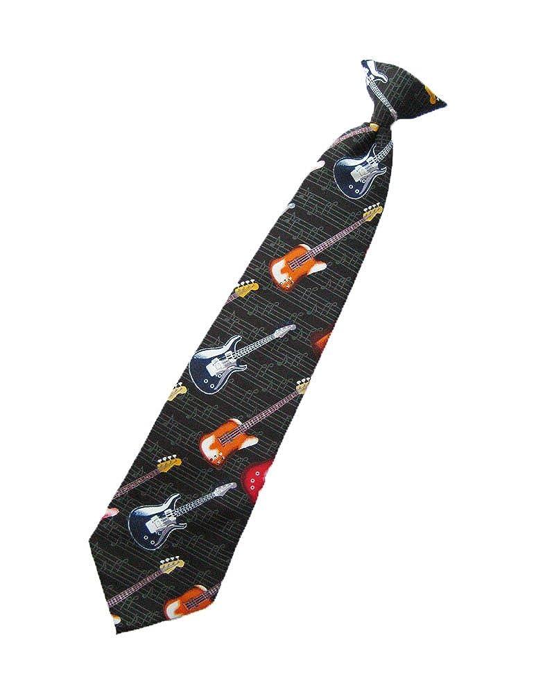 Parquet Mens Clip on Air Electric Guitar Necktie - Black - Neck Tie