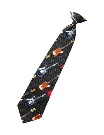 parquet mens clip on air electric guitar necktie black neck tie xmas