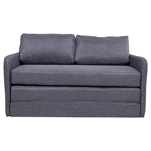 Gray Foldable Sleeper Sofa Bed Couch Loveseat Guest lounge Living Room Furniture