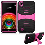 Phone Case for Straight Talk L53BG LG X-Style 4G LTE / LG Tribute-HD (Boost Mobile) Rugged Heavy Duty Armor Cover Stand (Armor Case Black-Pink Stand)