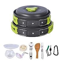 HUKOER Camping Cookware Mess Kit -14 Pieces Cooking set Compact& Durable Pot Pan Bowls - Free Folding Spork, Nylon Bag