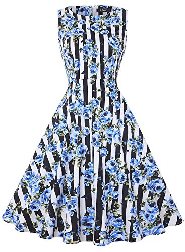 IHOT Vintage Tea Dress 1950's Floral Spring Garden Retro Swing Prom Party Cocktail Dress for Women