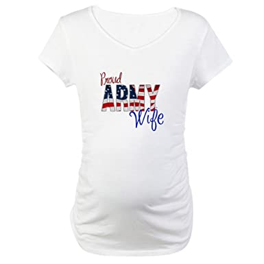 e1203b0157 CafePress Proud Patriotic Army Wife Cotton Maternity T-Shirt, Cute & Funny  Pregnancy Tee