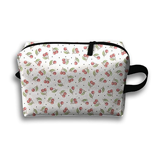 Cherry Pattern Travel Bag Cosmetic Bags Brush Pouch Portable Makeup Bag Zipper Wallet Hangbag Pen Organizer Carry Case Wristlet - Hill Open Cherry Mall