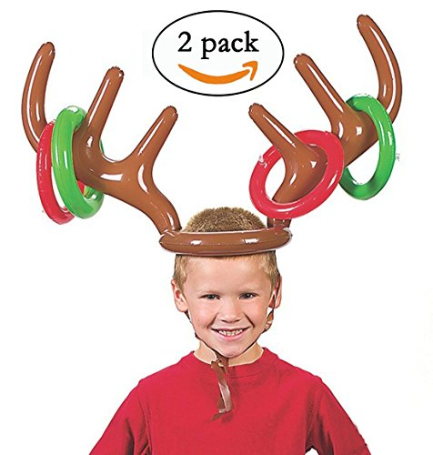 Aipleril Inflatable Reindeer Antler Ring Hat Toss Game Pack of 2 for Party ()