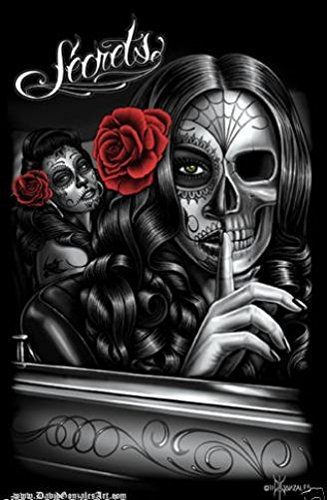 Dga dia de los muertos day of the dead art postcard size sticker secrets