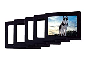 GracesDawn Magnetic Photo Frame, Refrigerator, Dishwasher Photo Wall with Metal Surface of Iron, held 4 × 6 inch Photo 5 Pieces, Color Choice (Black)