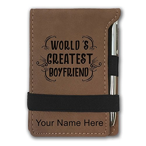 Mini Notepad, World's Greatest Boyfriend, Personalized Engraving Included (Dark Brown) by SkunkWerkz