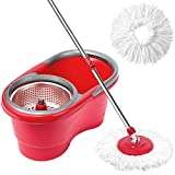CleanWise ® Spin Mop & Bucket System, Detachable Spinning Basket & Easy Wring 360 Degree Magic Swivel Wet and Dry Mop - No Foot Pedal Needed (Classic, Red)