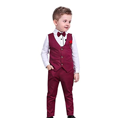 Vest+Pants Outfit Set Toddler Kids Baby Boy Formal Suit Tuxedo Wedding Shirt