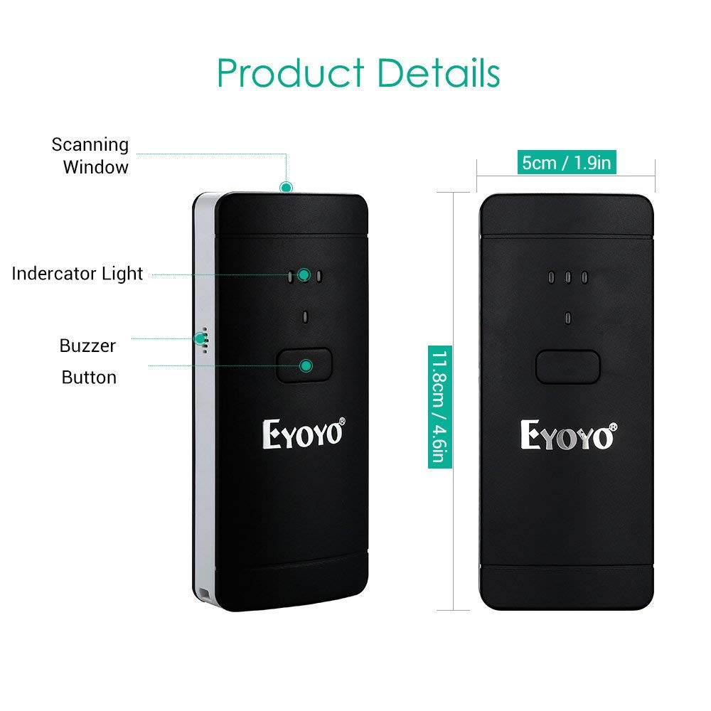 Eyoyo 1D 2D QR scanner de code /à barres sans fil compatible avec la fonction Bluetooth et connexion filaire Portable CCD PDF417 Lecteur de code /à barres pour ordinateur de paiement mobile
