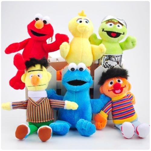 """6PCS Set Sesame Street Plush Toy Soft Doll 5""""-7"""" Kids Birthday Christmas Gift"""