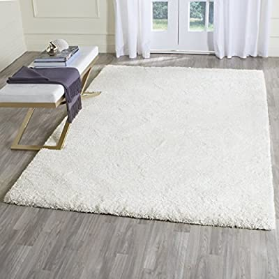 Safavieh Ultimate Shag Collection SGU211A Handmade Silver and Ivory Polyester Area Rug