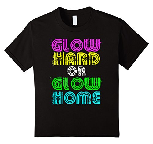 Kids Bright Neon Colours Glow Hard Or Glow Home T-Shirt 8 Black