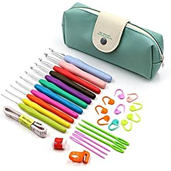 Aolvo Specialty Crochet Hooks, 30 Pack Colored Fancy Crochet Hooks Set Tools with Additional Crochet Hook Caddy, Aluminum Decorated Crochet Hooks Starter Kit for Arthritis and Beginners