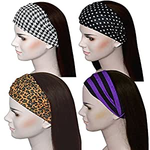 Sweat Wicking Stretchy Athletic Bandana Headbands / Head wrap / Yoga Headband / Head Sarf / Best Looking Head Band for Sports or Fashion, or Exercise