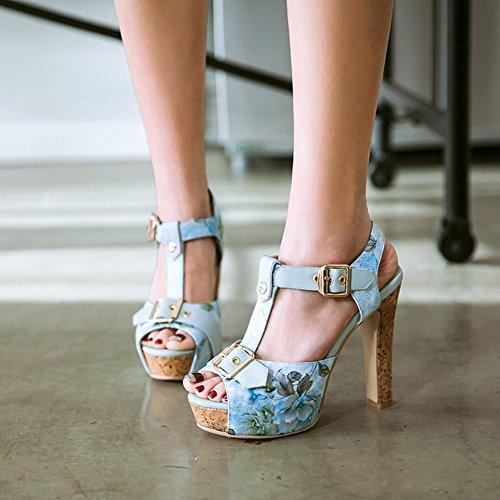 MissSaSa Donna Scarpe col Tacco Chisura a T Spuntato sandali (34, Azzurro)