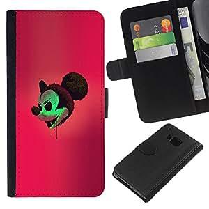 YiPhone /// Tirón de la caja Cartera de cuero con ranuras para tarjetas - Mal Mickey - HTC One M7