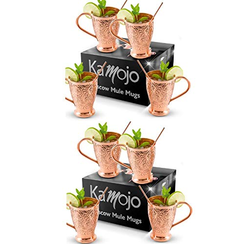 - Moscow Mule Copper Mugs Set of 8 | Pure Copper Straws/Stir Sticks (8) | Kamojo Exclusive
