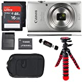 Canon PowerShot ELPH 180 Digital Camera with is and Smart AUTO Mode (Silver), SanDisk Ultra 16GB Camera Case and Premium Accessory Bundle